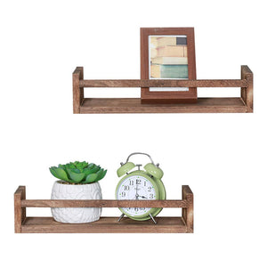 NEX Floating Shelves Rustic Wood Wall Mounted Display Shelf 2 Pack Walnut (NX-HK93-30)