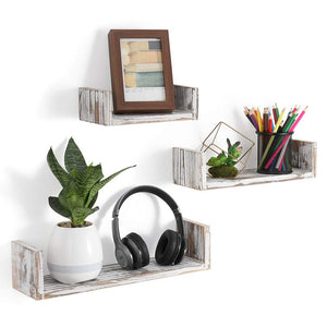 NEX Floating Shelves Wall Mounted Rustic Wood Wall Shelves Set of 3, U-Shaped Weathered Brown (NX-HK81-40)