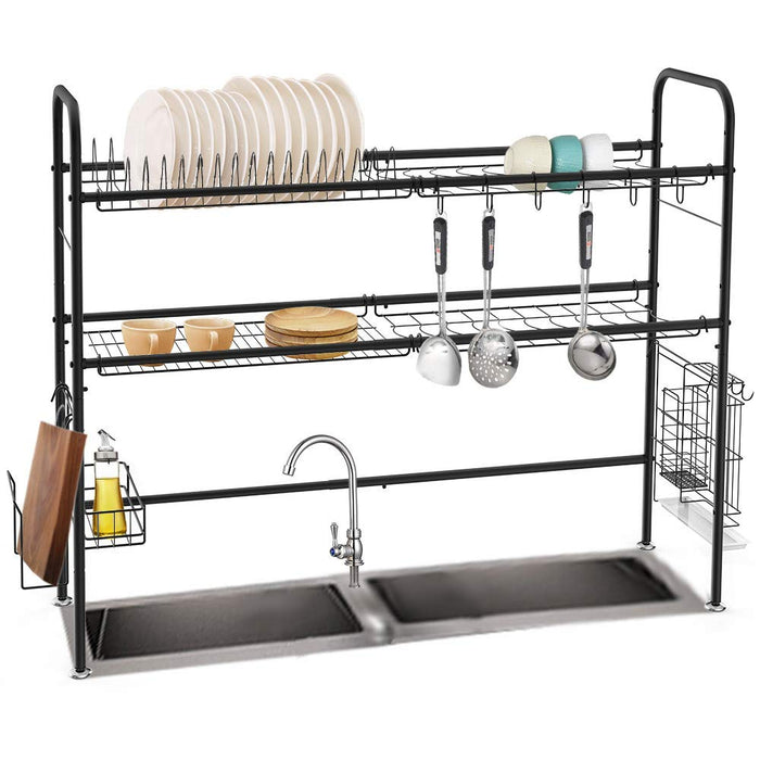 NEX Height Adjustable 2-Tier Nonslip Stainless Steel Dish Rack With Chopstick Holder, Moveable S-Hooks, Cutting Board Holder, Double Grooves Black (NX-DKT125-02)