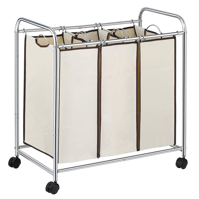 NEX 3-Bag Laundry Sorter Cart Laundry Sorter with Removable Bags Chrome (NX-HK47-27)