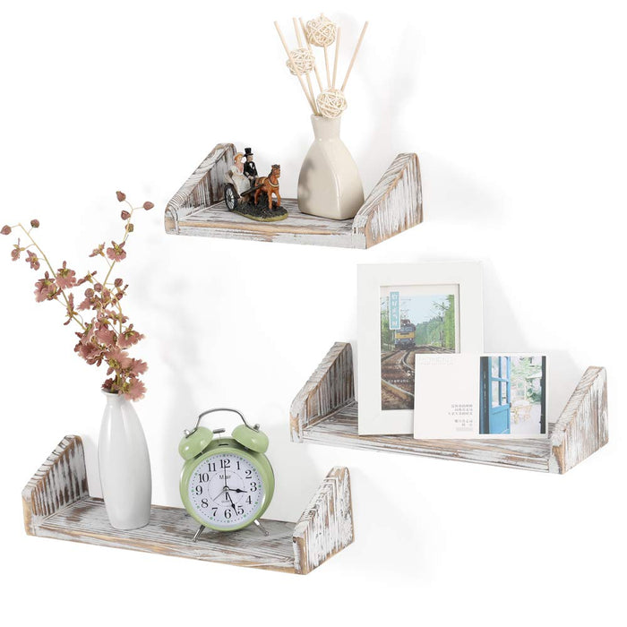 NEX Floating Shelves Wall Mounted Set of 3, Real Wooden Shelves for Home & Office Decoration Rustic Brown (NX-HK71-40)