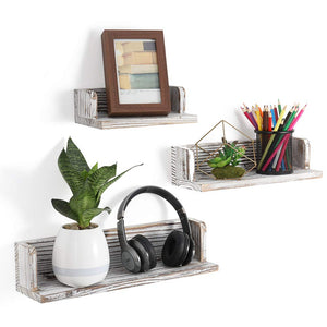 NEX Floating Shelves Wall Mounted Rustic Wood Wall Shelves Set of 3 Weathered Brown (NX-HK76-40)