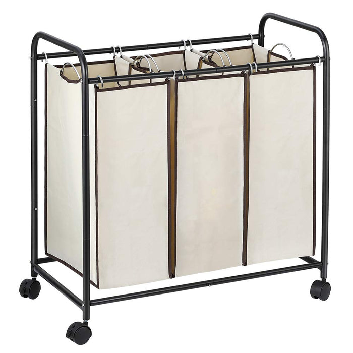 NEX 3-Bag Laundry Sorter Cart Laundry Sorter with Removable Bags Brown (NX-HK48-02)