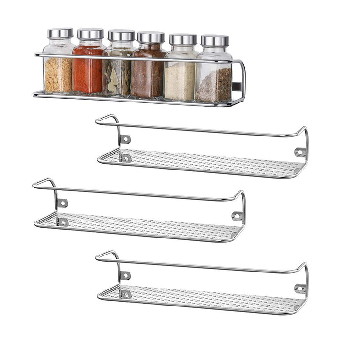 NEX Spice Rack Wall Mount for Kitchen, Bathroom, Office Organizer Chrome – Set of 4 (NX-KD66-27)