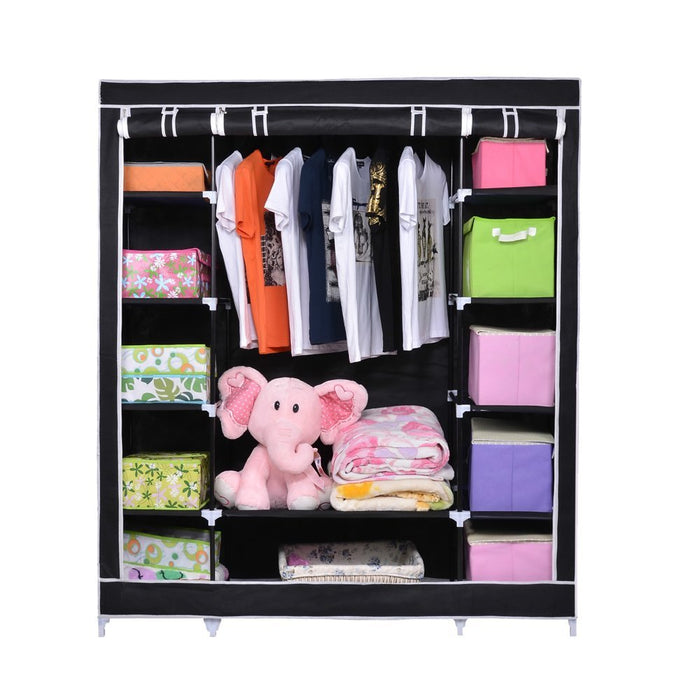 "NEX Portable Storage Organizer Wardrobe Closet & Shoe Rack Assemble Easy 69"" x 51"" x 17.5"", 15 Cubic Feet Black (NX-EAT0125)"