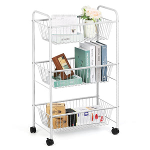 NEX 3-Tier Rolling Basket Stand, Large Size Full Metal Rolling Trolley for Kitchen & Bathroom - Three Tier Storage Cart w/Shelves & Wheels – White (NX-DB049A)