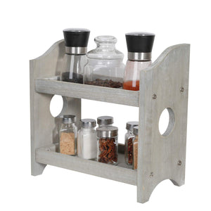 NEX 2 Tier Wood Spice Rack Organizer Countertop - Rustic Style Gray Wood (NX-HK115-38)