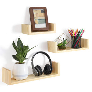 NEX Floating Shelves Wall Mounted Rustic Wood Wall Shelves Set of 3, U-Shaped Light Natural (NX-HK84-32)