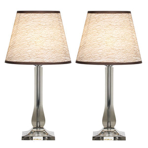 HAITRAL Bedside Table Lamps Set of 2 – Modern Desk Lamps with Acrylic Base, White Linen Shade, Nightstand Lamps for Bedroom, Living Room, Dorm, Office Silver (HT-TH100-41X2)