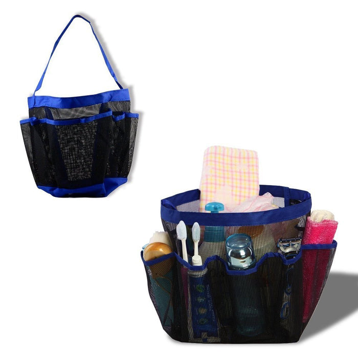 NEX Portable Collapsible Shower Tote with 9 Pocket Storage, Mesh Shower Caddy, Bath Organizer - Perfect for College Dorm, Pools, Gyms, Beaches, Bathrooms, Shower, Portable Collapsible Shower Caddy (NX-EAT0087)