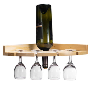 NEX Rustic Wood Wall Mounted Wine Rack Holder, Corner Shelf for Wine Bottles and 4 Stemware Glasses (NX-HK127-26)