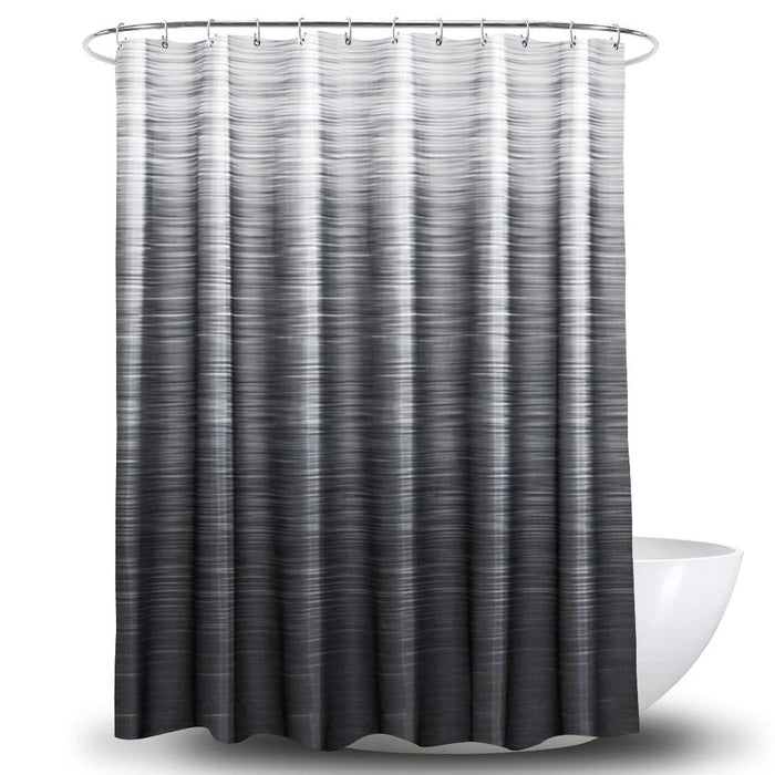 "NEX Shower Curtain with 12 Hooks Waterproof Fabric Bathroom Decor 70"" x 70"" White & Black (NX-HK155-JC)"