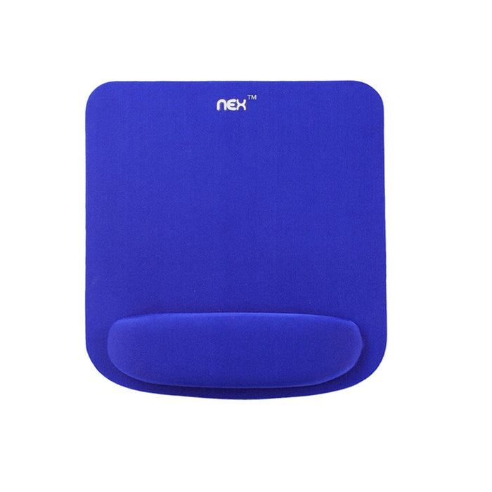 NEX Mouse Pad with Memory Foam Wrist Rest, Non-slip Rubber Base Mouse Mat for Typist Office Blue (NX-B001-2)