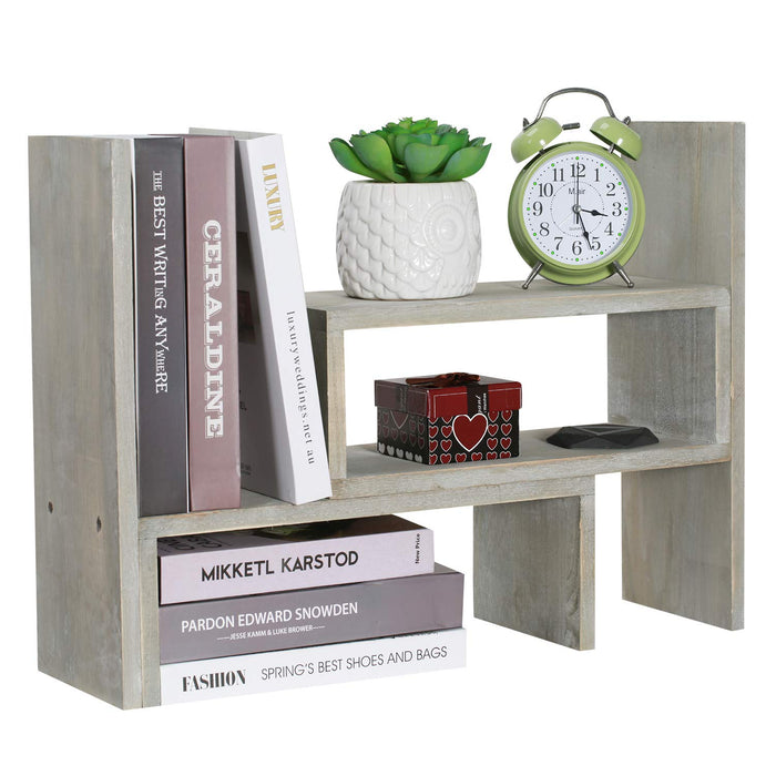 NEX Desktop Organizer Office Storage Rack, Rustic Torched Wood Adjustable Desktop Bookshelf Bookcase Rustic Gray (NX-OP37-38)