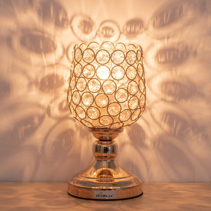 HAITRAL Gold Crystal Rose Shape Table Lamp, Vintage Modern Night Lamp