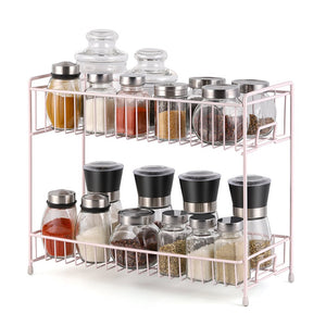 NEX 2-Tier Standing Rack Countertop Storage Organizer Spice Jars Bottle Shelf Holder Rack Kitchen Bathroom Light Pink (NX-DB046D)