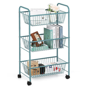 NEX 3-Tier Rolling Basket Stand, Large Size Full Metal Rolling Trolley for Kitchen & Bathroom - Three Tier Storage Cart w/Shelves & Wheels – Blue (NX-DB049B)