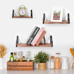 NEX Wall Shelves, Floating Shelves Set of 3, Paulownia Wood Board with Metal Rack Brackets Brown (NX-HK21-30S)