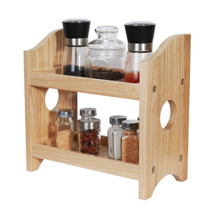 NEX 2 Tier Wood Spice Rack Organizer Countertop - Rustic Style Natural Wood (NX-HK114-32)