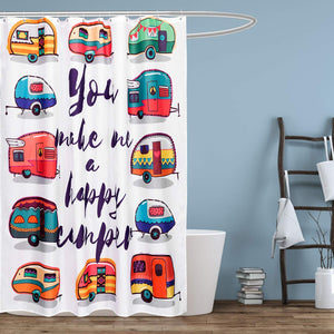"NEX Shower Curtain with 12 Hooks Waterproof Fabric Bathroom Decor 70"" x 70"" Cars (NX-HK154-XQC)"