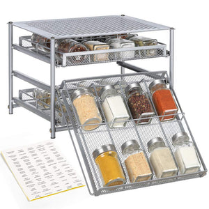 NEX Spice Rack 3 Tier 24-Bottle Spice Drawer Organizer for Pantry Kitchen Cabinet, Metal (NX-KD04-11S)