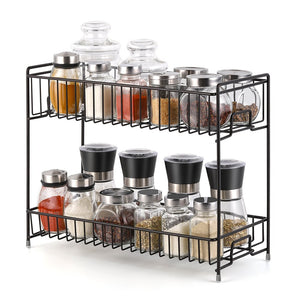 NEX 2-Tier Standing Rack Countertop Storage Organizer Spice Jars Bottle Shelf Holder Rack Kitchen Bathroom Brown (NX-DB046B)