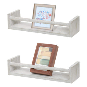 NEX Floating Shelves Rustic Wood Wall Mounted Display Shelf 2 Pack Distressed Gray (NX-HK90-38)