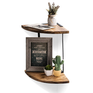 NEX 2-Tier Floating Wall Mount Shelves with Solid Wood Book with Carbonizing Treatment and Metallic Powder Coating Bracket Great for Any Room (NX-HK23-30S)