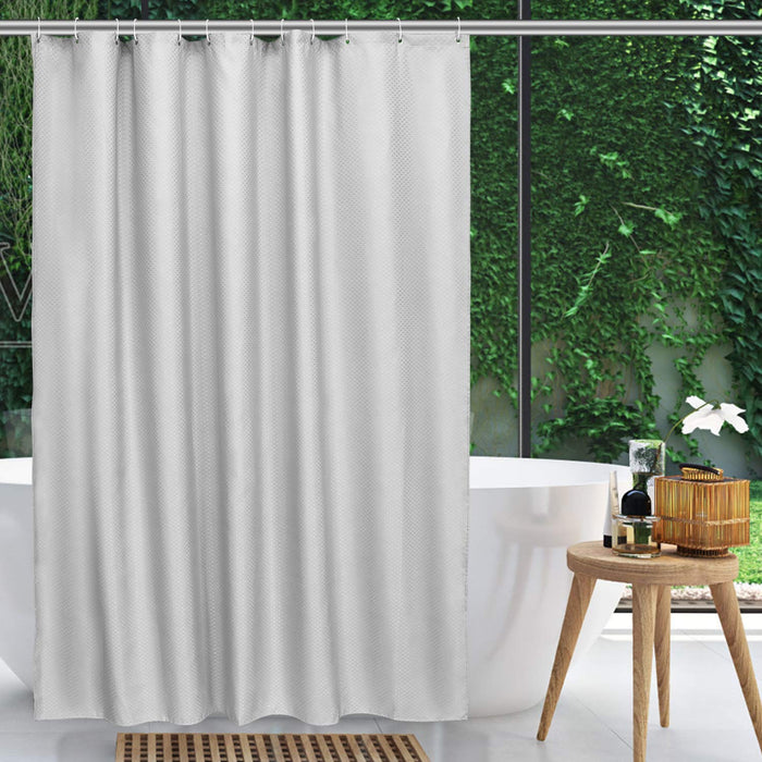 "NEX Shower Curtain with 12 Hooks Waterproof Fabric Bathroom Decor 70"" x 70"" Dark Gray (NX-HK154-SHS)"