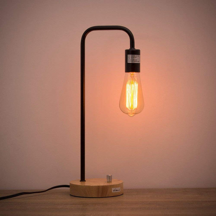 HAITRAL Industrial Wooden Table Reading Lamp for Office, Bedroom, Living Room-Black Color (HT-A001)