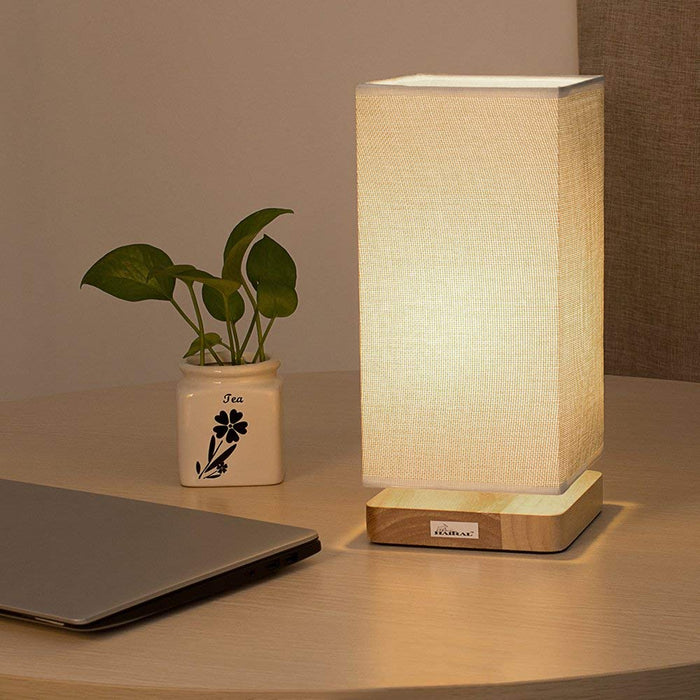 HAITRAL Japanese Style Fabric Shade, Wood Base Table Lamp Reading Lamp for Bed Room, Night Light, Baby Room, College Dorms (HT-B007)