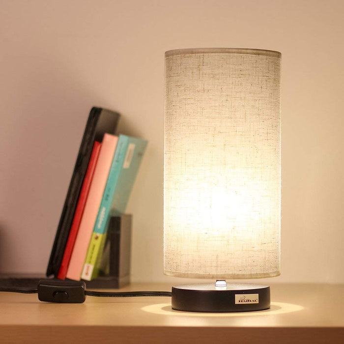 HAITRAL Cylinder Minimalist Table Lamp Reading Lamp with Fabric Shade for Bedroom, Living Room, Office, College Dorm, Kids Room (HT-B008)
