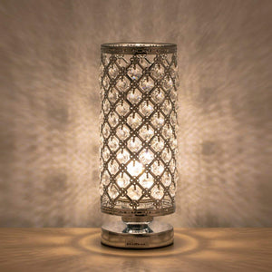 HAITRAL-Crystal-Cylinder-Table-Lamp-Silver-HT-B011