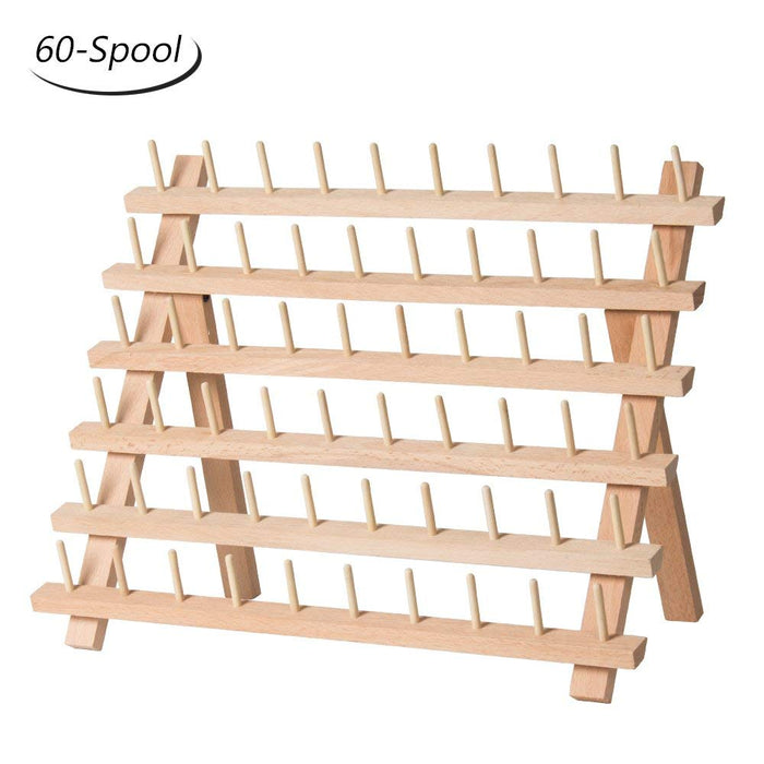 HAITRAL 60-Spool Sewing Thread Rack Wooden Embroidery Thread Organizer (HT-BD001)