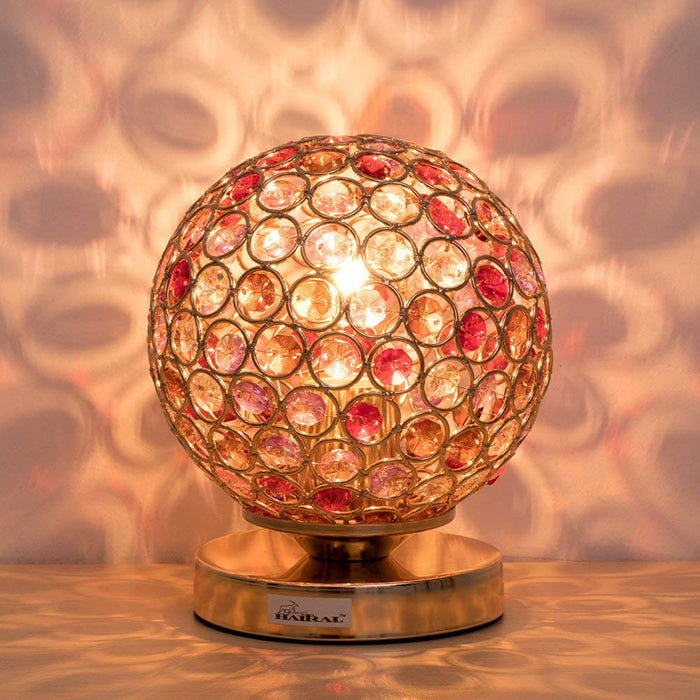 HAITRAL Silver Crystal Ball Table Lamp, Vintage Modern Night Lamp (HT-BD012C)