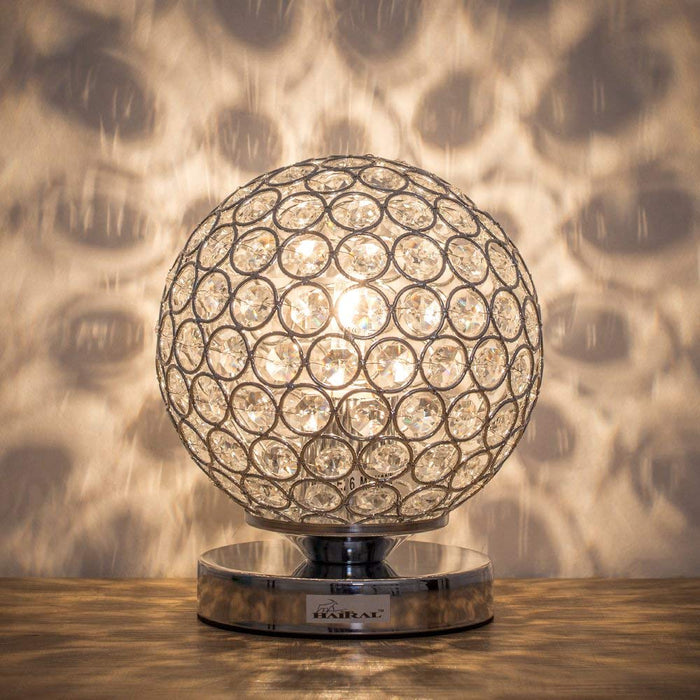 HAITRAL Silver Crystal Ball Table Lamp, Vintage Modern Night Lamp (HT-BD012S)