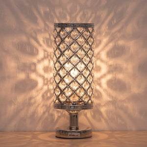 HAITRAL-Crystal-Cylinder-Table-Lamp-Silver-HT-BD017S
