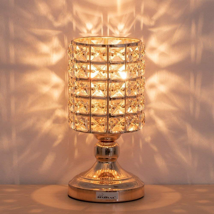 HAITRAL Crystal Cylinder Table Lamp, Vintage Modern Night Lamp, Nightstand, Decorative Lamp For Desks, Bedroom, Living Room, Kitchen, Dining Room – Gold Color (HT-BD025)