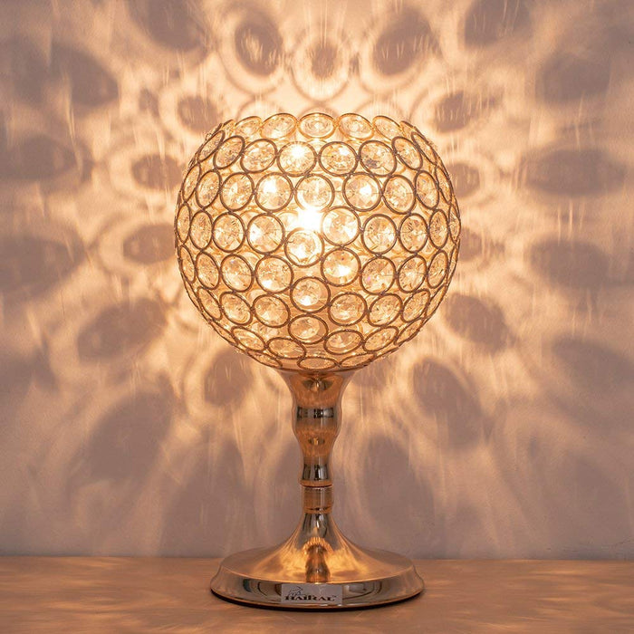 HAITRAL Crystal Spherical Wine Glass Table Lamp with Metal Elegant Base, Vintage Modern Night Lamp, Nightstand, Decorative Lamp For Desks, Bedroom, Living Room, Kitchen, Dining Room – Gold Color (HT-BD026)