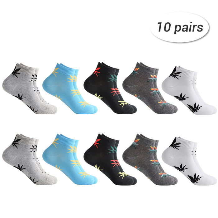 HAITRAL Men's Maple Leaf Casual Low Cut Ankle Socks- 10 Pairs Package (HT-BK018)