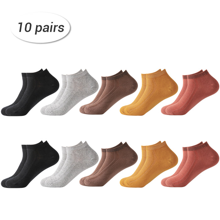 HAITRAL Men's Fall Color Casual Low Cut Ankle Socks 10 Pairs Package (HT-BK020)