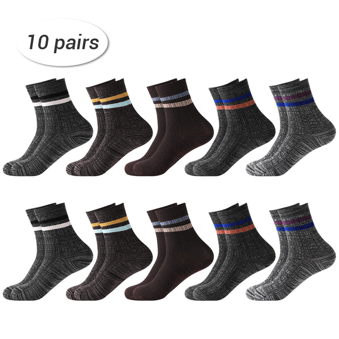 LIANTRAL Men's Double Stripe Elastic Cotton Socks- 4 Seasons- 10 Pairs (LT-BK021)