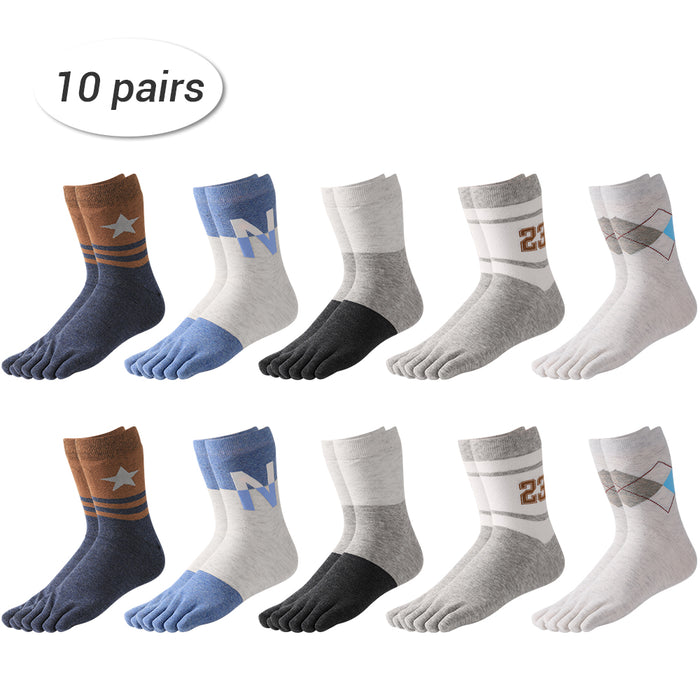 LIANTRAL Men's Patterned Finger Toe Socks Elastic Cotton Socks- 4 Seasons- 10 Pairs (LT-BK023)
