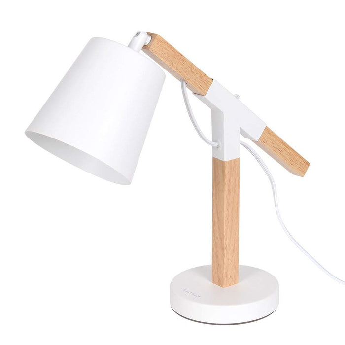 HAITRAL Wooden Desk Lamp with Rotatable Head For Reading, Office, Bed Rooms, Living Rooms-White (HT-CL2255)