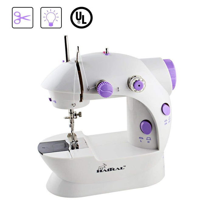 HAITRAL Portable Mini Multifunctional Sewing Machine with 2 Speed Control, Thread Cutter, Built-in LED Lights, Foot Pedal, Chain-Lock Stitches, Thread Cutter, Purple Color (HT-CS141WPU)