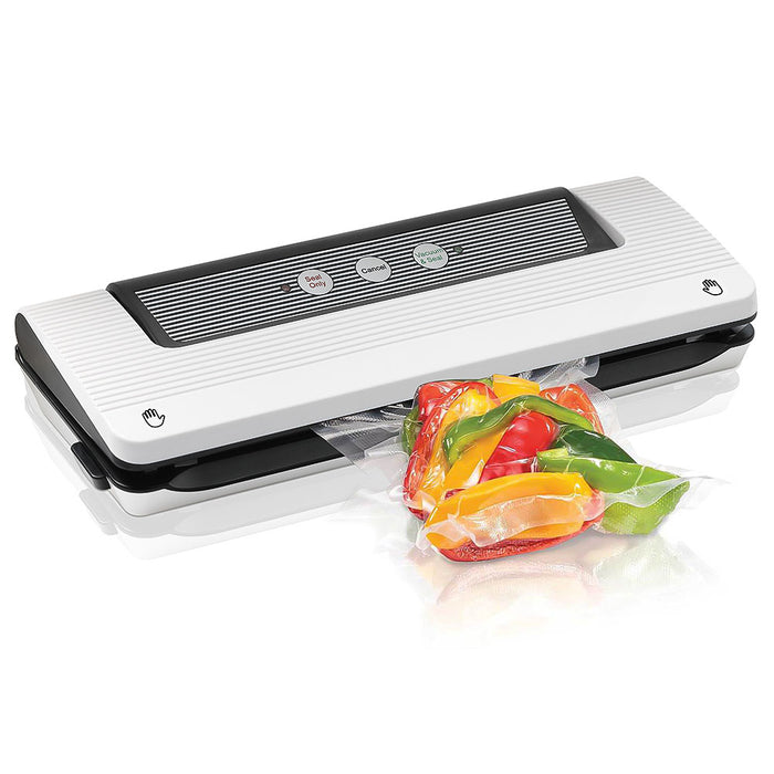 HAITRAL Automatic Food Vacuum Sealer, Fresh Food, Food Storage, Food Gadget, Vacuum Sealing System, Comes with 15 Piece Sealer Bags- Black (HT-KD04-21)