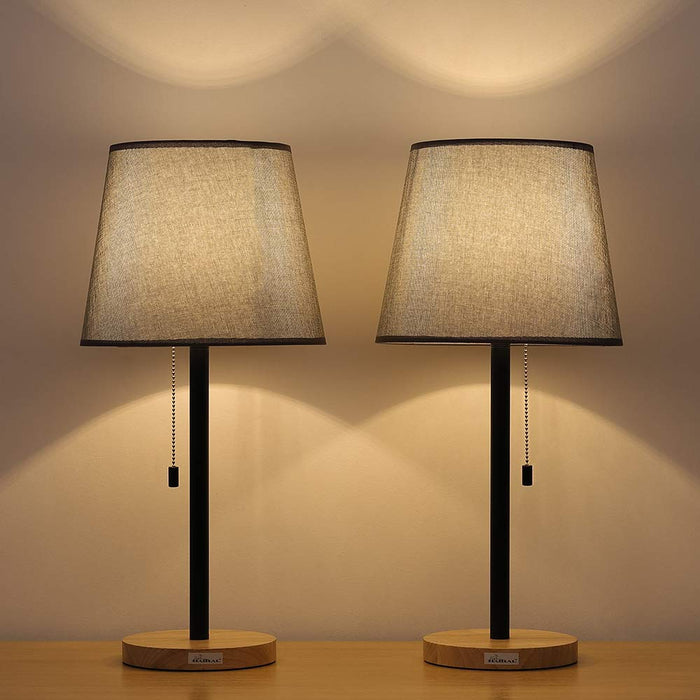 HAITRAL Two Set Gray Modern Wooden Pull Chain Table Reading Lamp  (HT-TH12-02X2)