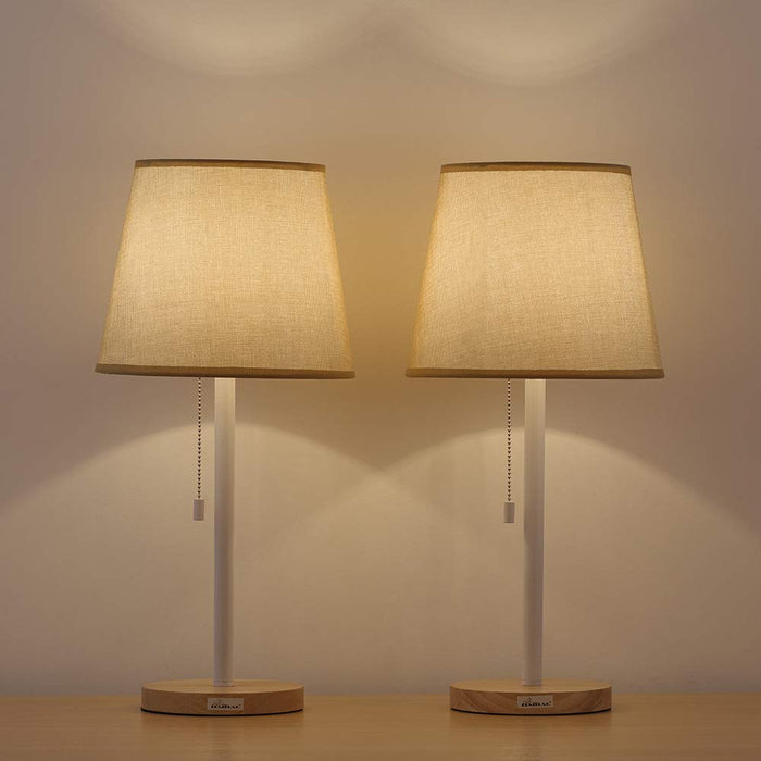 HAITRAL Two Set Tan Contemporary Wooden Pull Chain Table Reading Lamp (HT-TH13-21X2)