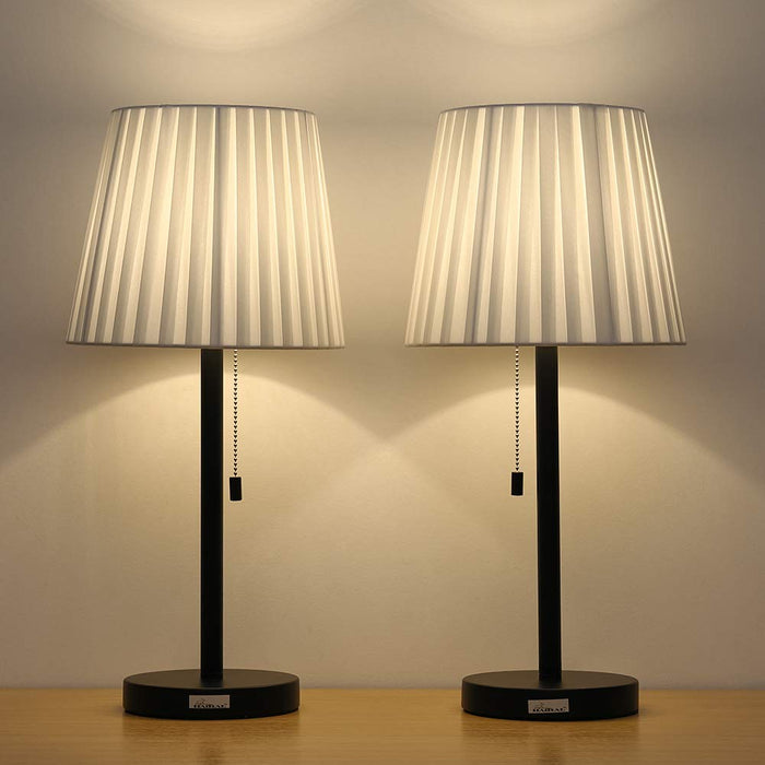 HAITRAL Two Contemporary Black Modern Bed Lamp Vintage Accent Lamp (HT-TH19-02X2)