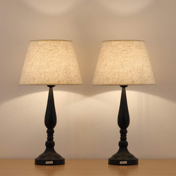 HAITRAL Two Contemporary Black Modern Bed Lamp Reading Lamp Set  (HT-TH20-02X2)